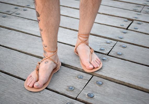 Barefoot sandales, sandales hommes, naturel, sandales, sandales Huarache, pieds nus, nus, nus, sandales d'été, sandales de plage, sandales de Sparte, en cuir véritable ee33fd