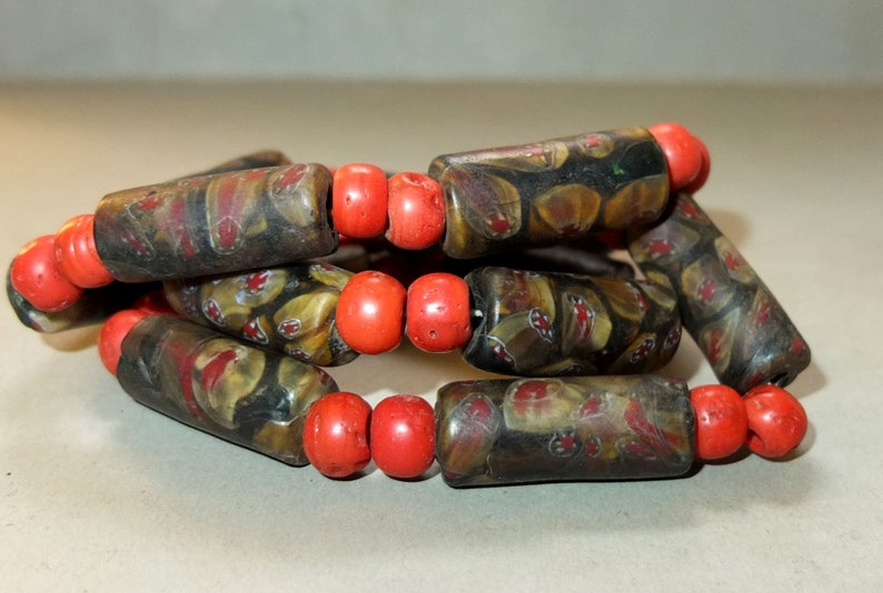 FREE SHIPPING Necklace with Varicolored Different Red Green Fused Glass Beads from Nepal Folk Tribal Jewelry Asia