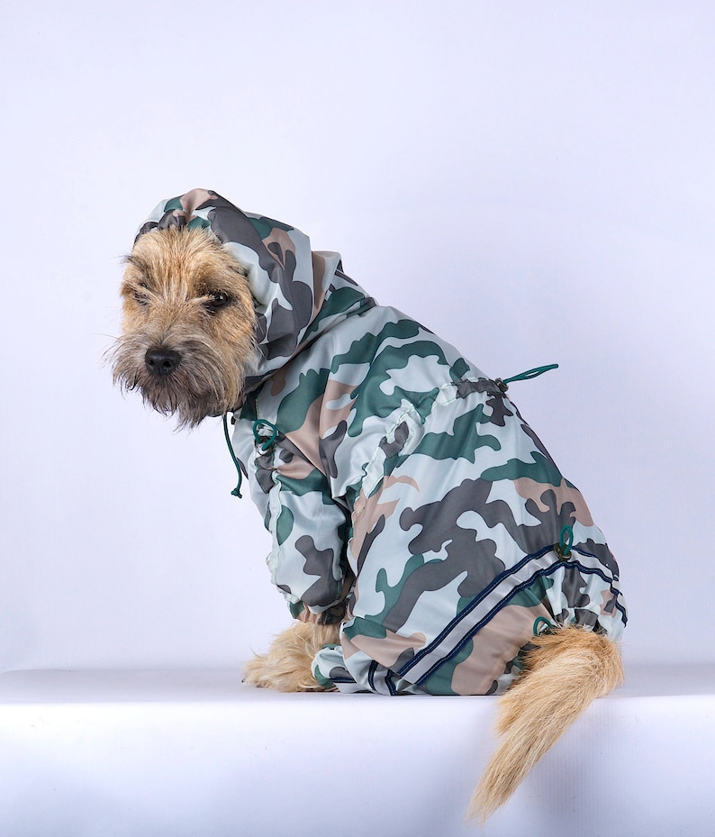 5b131cf7a92ff Camouflage dog raincoat cupra lining waterproof dog rain | Etsy
