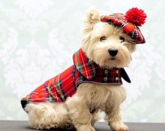 Tweed-Hundemantel, schottischen Hundemantel, Westie Spaziergang Jacke, Hund Winterjacke, karierten Hund Weste, Tartan-Hundemantel, rote Westie Jacke