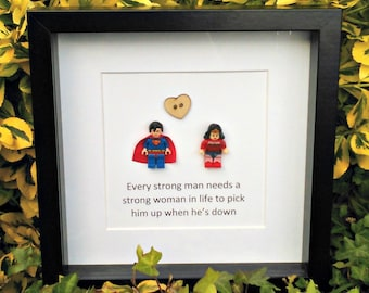 Superman, Wonder Woman, Brick Figure Art, Framed Gift, Romantic Geekery, Nerdy, Couples Gift, Anniversary Idea, Wedding Gift, Strong Couple