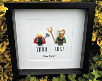 Thor and Loki, Brick Figure Art, Blood Brothers, Framed Gift, Gift for Him, Gift for Brother, Birthday Idea, Christmas Gift, Quirky Gift