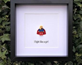 Supergirl, I Fight like a girl, Gift for Her, Nerdy Bedroom Art, Framed Minifigure, Birthday Gift, Strong Women Gift, Teenage Girl Gift,