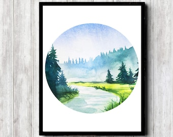 Landscape With Water /River Wall Art - Printable Watercolor Nature Poster - Circle Art Print - Trees Landscape - Nursery /Office / Bathroom