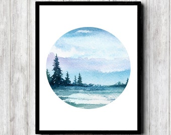 Printable Winter Watercolor Landscape With Trees - Office / Nursery /Bathroom Print - Nature Wall Decor - Circle Wall Art - Digital Download