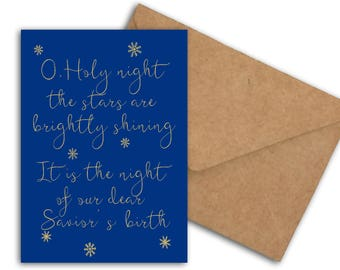 Printable Christmas Carol Card - O Holy Night The Stars Are Brightly Shining - Holiday Snowflakes Card - Typography Card - Our Saviors Birth