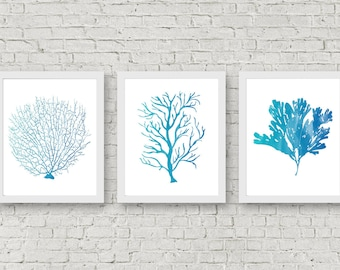 Instant Download   Set Of 3 Art Prints   Watercolor Sea Coral Wall Art    Fan Coral Wall Decor   Seaweed Poster   Office Wall Art   Nursery