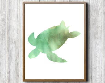 Green Watercolor Sea Turtle Silhouette Wall Art - Beach Theme Art - Nursery / Kids Room Wall Decor- Sea Animal Print -11 x 14 - 8x 10 -5 x 7