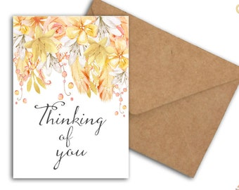 Thinking Of You Support Card - Watercolor Floral Card - Commiseration /Sympathy Card - Printable Encouragement Card - Card For Her / Friend