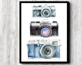 Instant Download - Watercolor Camera Art Print - Photographer Gift - Photography Studio Wall Art - Camera Poster - 8 x 10 - 11 x 14