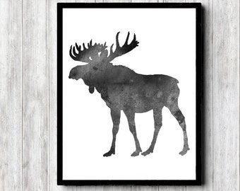 Instant Download - Watercolor Moose Silhouette Wall Art - Monochrome Office Art Poster - Woodland Creature - Forest Animal - 8 x 10 Print