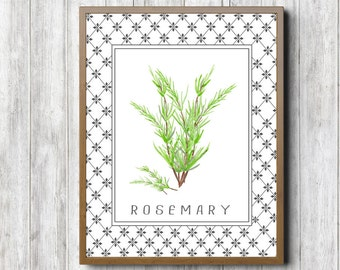 Instant Download - Watercolor Rosemary Wall Art - Herbs Wall Decor - Kitchen Poster - Culinary Art Print - Food Art Decor - Digital Artwork