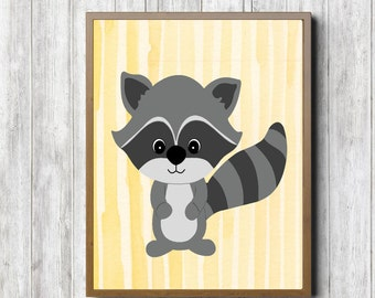 Instant Download - Raccoon Nursery Wall Art - Woodland Animal - Boys /Girls Room Poster - Forest Animal Print - Yellow & Gray - 8 x 10