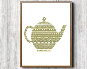 Green Kitchen Wall Art - Teapot Printable Wall Decor - Kitchen Items Art Poster - Tea Pot Print - Zentangle Art - Abstract Pattern