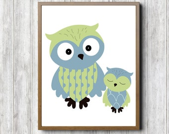 Owls Printable Nursery Art - Boys /Girls Room Wall Art - Woodland Animal /Bird Print - Forest Animal Art - Blue & Lime Green - Baby Owl