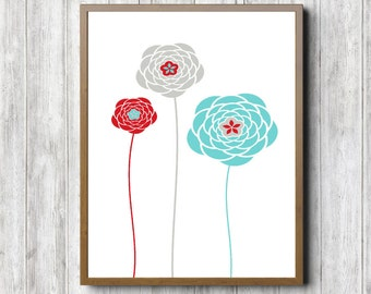 Flower Printable Wall Art - Floral Wall Decor -Office /Kitchen Art Poster - Girls Room /Nursery Art - 8 x 10 - 5 x 7- Red / Grey /Turquoise
