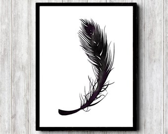 Instant Download - Minimalist Black Feather Printable Wall Art- Watercolor Feather - Monochrome Art - Black Wall Decor - Office Art Poster