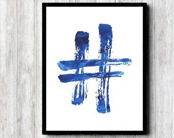 Watercolor Hashtag Sign - Minimalist Wall Art - Office Wall Decor - Social Media Art - Typography Poster - Teen Boys Room Decor - Blue Art
