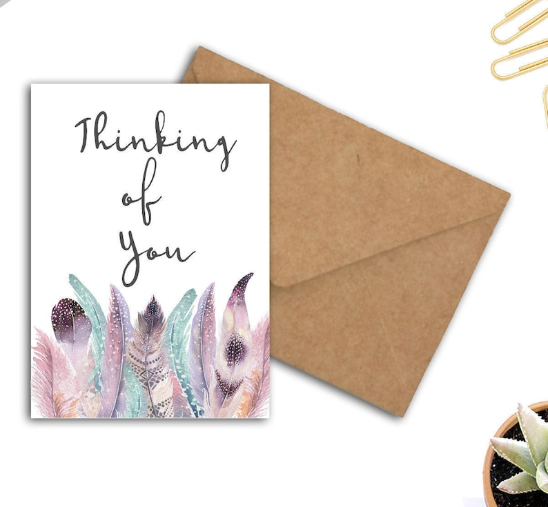 picture regarding Printable Thinking of You Card titled Printable Questioning Of Your self Card - Boho Watercolor Feathers Card - Encouragement / Psychological Aid Card - Sympathy Card For Her / Girl