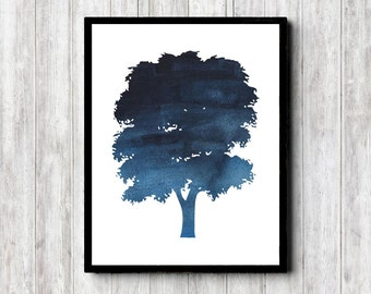 Watercolor Tree Silhouette Printable Wall Art - Blue Tree Wall Decor - Office Wall Art - Nature Art Print / Poster - Instant Download