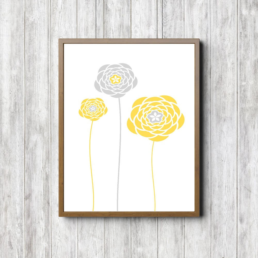 Instant Download Yellow And Gray Flowers Printable Nursery Etsy