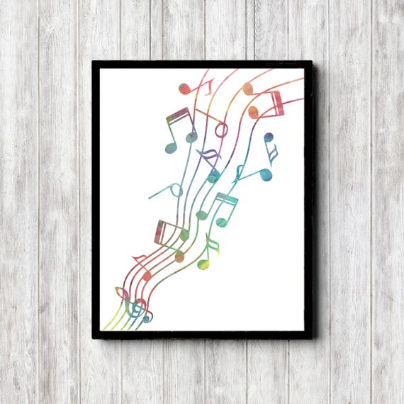 image about Printable Music Notes identify Watercolor New music Notes Printable Wall Artwork - Reward For Musician/ Tunes Trainer /Teenager /Musical Boy or girl - Multicolor /Colourful Poster Decor