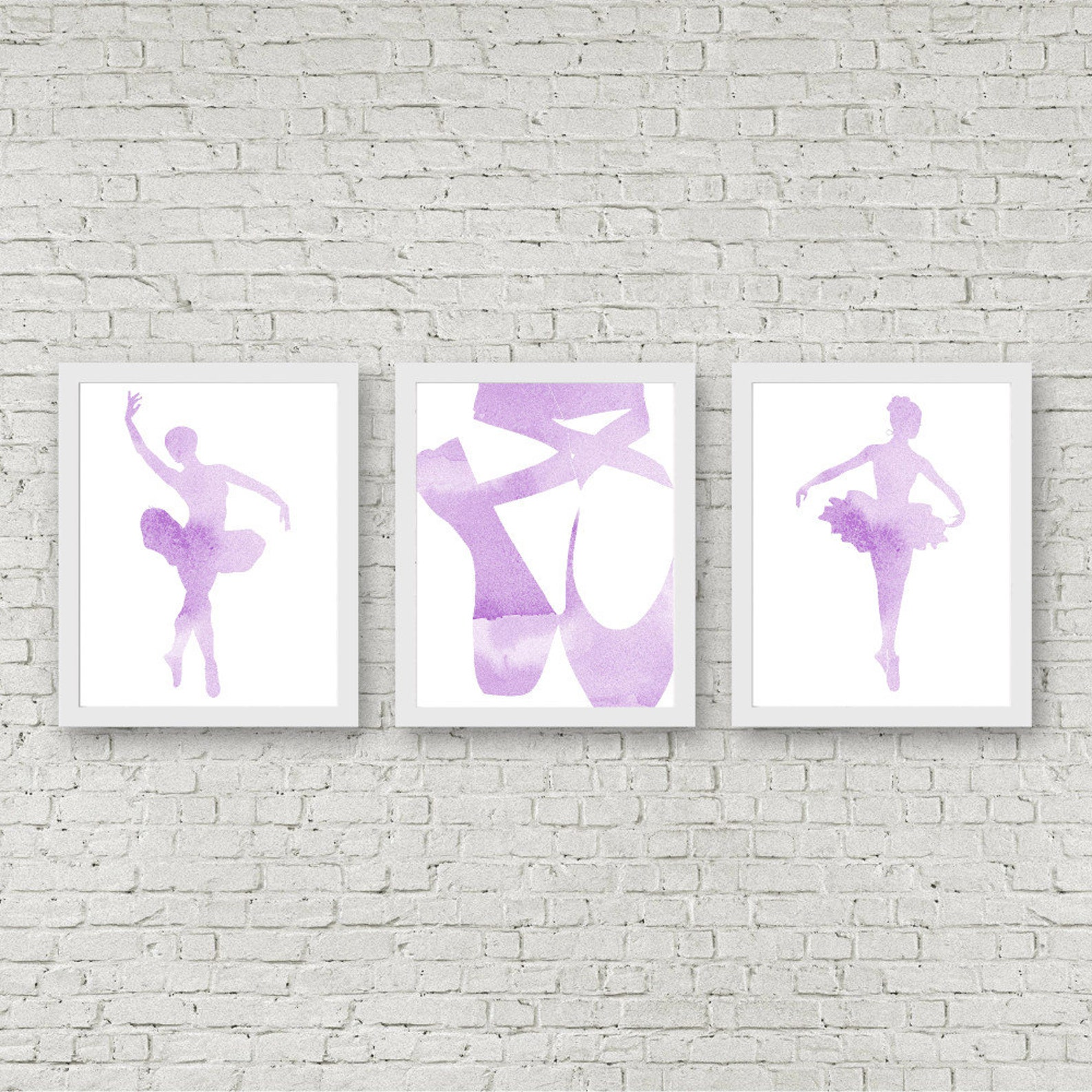 set of 3 art prints - watercolor ballet dancers wall art - ballerina nursery decor - ballet pointe shoes - lavender / purple art