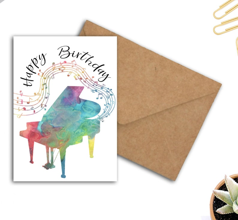Birthday Card For Pianist Musician Music Lover Printable