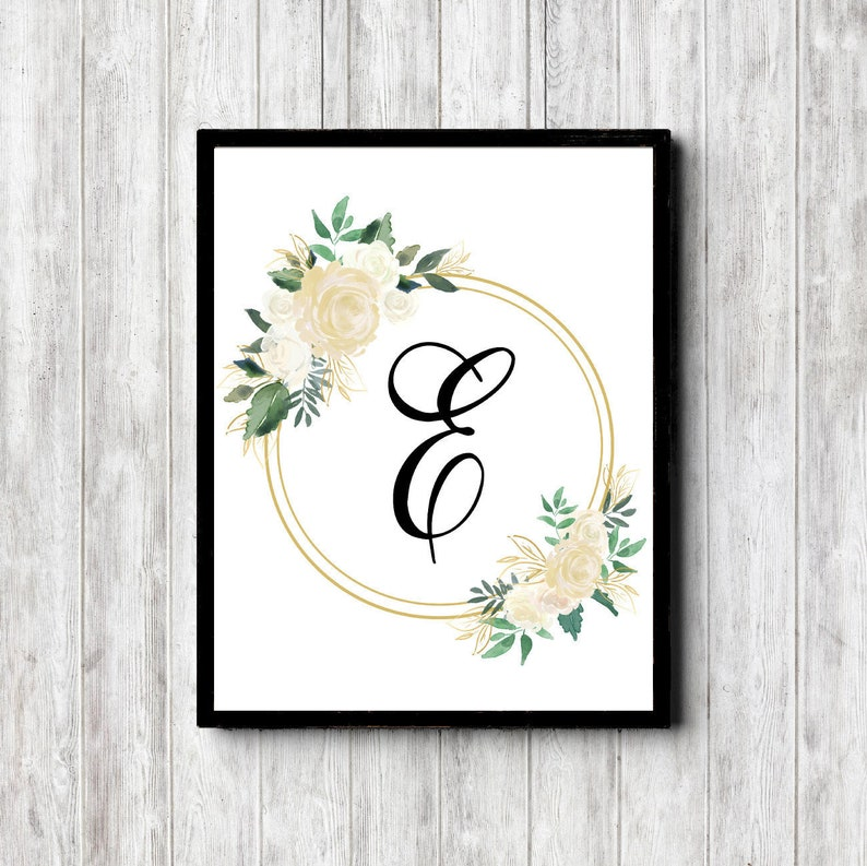 photograph about Printable Monogram Stencil referred to as Letter E Printable Monogram Wall Artwork For Lady Nursery / Lady - Floral Monogram Present For Ladies - Female Artwork Print