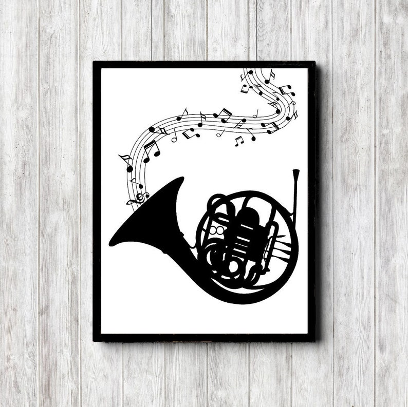 photo regarding Music Notes Printable named French Horn With New music Notes Printable Artwork Poster - New music Software Wall Artwork - Tunes Trainer Reward - Monochrome Print - Workplace Wall Decor