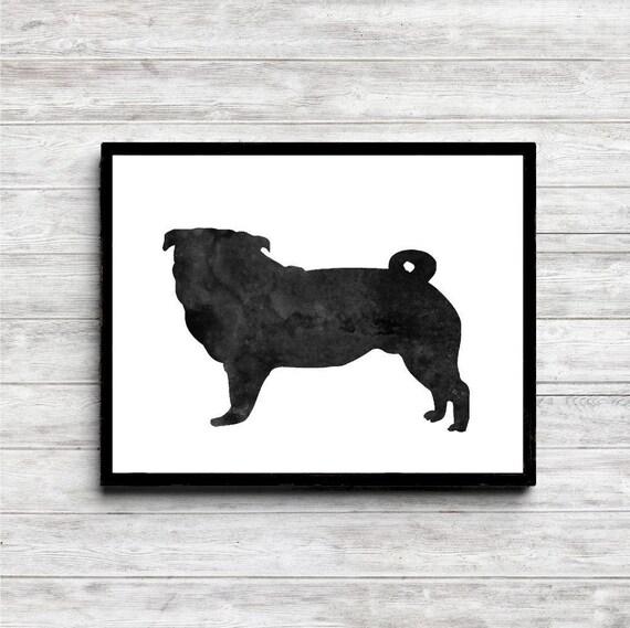 Watercolor Pug Printable Wall Art Dog Silhouette Wall Decor   Etsy