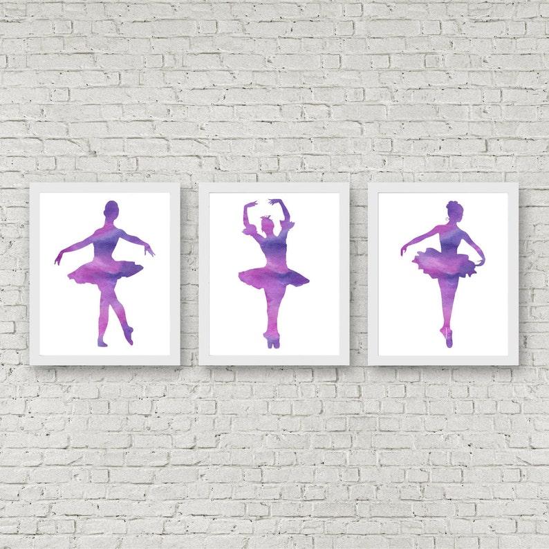 image relating to Printable Ballerina Silhouette titled Established Of 3 Artwork Prints - Watercolor Ballerina Silhouette - Ballet Dancer Wall Artwork - Ballet Ladies Place / Nursery Printable - Ballerina Reward
