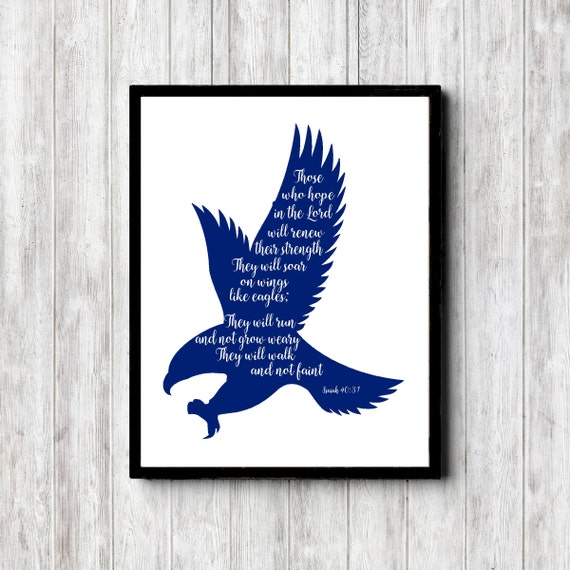 Isaiah 40 31 Scripture Wall Art Wings Of Eagles Bible Verse Etsy