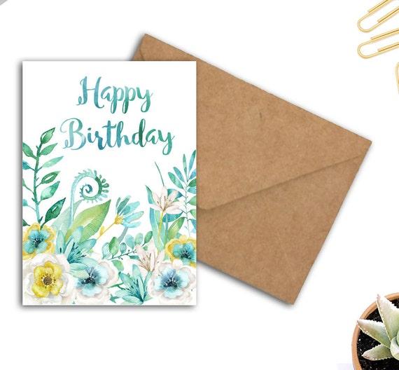 Watercolor Birthday Card Flowers Words Happy