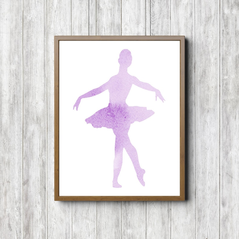 photo relating to Ballerina Silhouette Printable referred to as Instantaneous Down load - Ballerina Silhouette Printable Wall Artwork - Watercolor Ballet Dancer - Lavender Nursery / Women of all ages Area Decor - Dance Poster