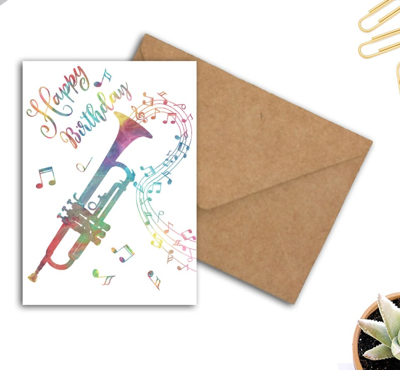 Trumpet Happy Birthday Card For Musician Music Lover