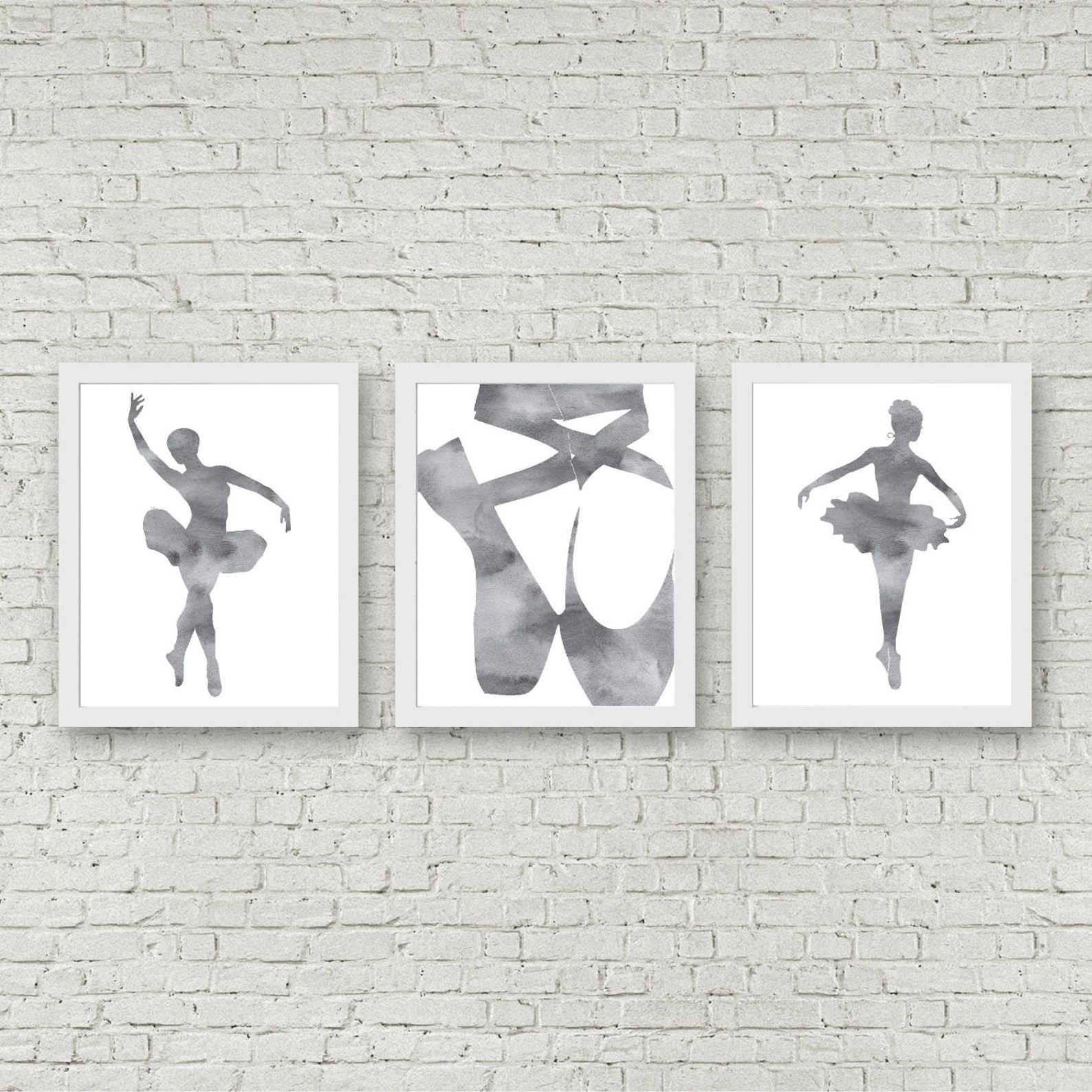 instant download - set of 3 art prints - watercolor ballet wall art - ballerina / ballet shoes poster - ballet pointe shoes art