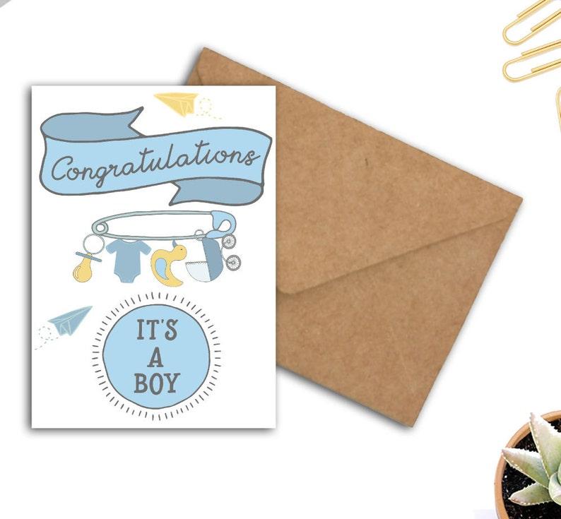 Baby Shower Mom To Be Card Blue Baby Card Birth Card Congratulations Its A Boy Printable Greeting Card Newborn Baby Boy