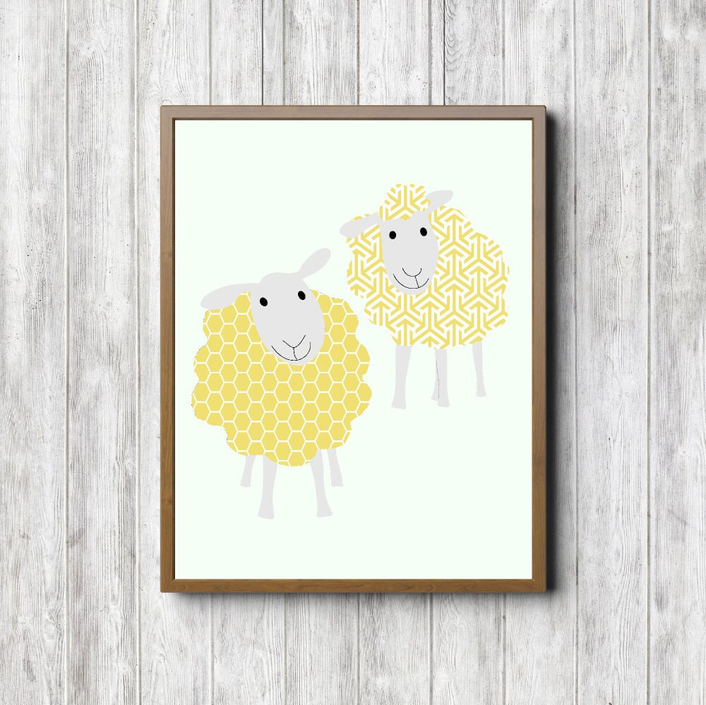 Yellow Sheep Printable Wall Decor Nursery / Kids Room Wall | Etsy