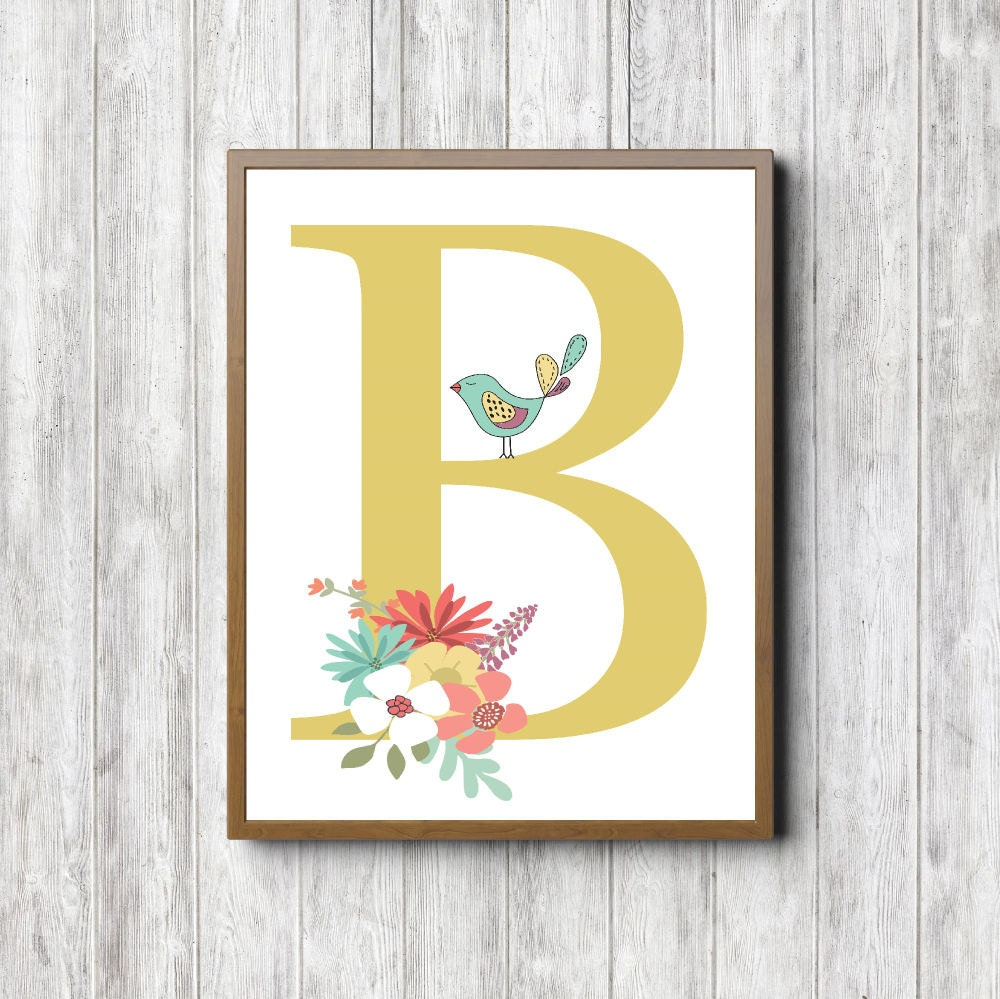 B Monogram Nursery Wall Art Girls Room Wall Decor Floral | Etsy