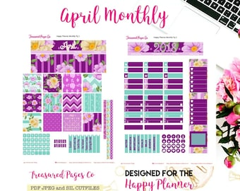 April Monthly Printable designed for the Happy Planner includes free Cut Files