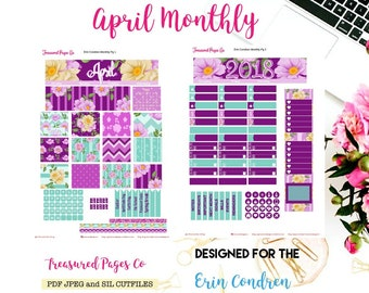 April Monthly Planner Printable designed for the Erin Condren Planner Printable includes free Cut Files