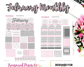 February Monthly Planner Printable designed for the Erin Condren Planner Printable includes free Cut Files