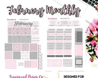February Monthly Printable designed for the Happy Planner includes free Cut Files