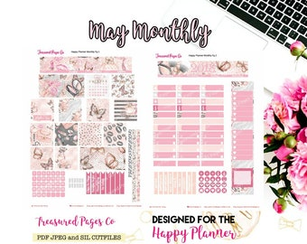 May Monthly Printable designed for the Happy Planner includes free Cut Files