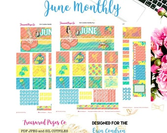 June Monthly Planner Printable designed for the Erin Condren Planner Printable includes free Cut Files