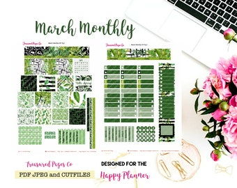 March Monthly Printable designed for the Happy Planner includes free Cut Files