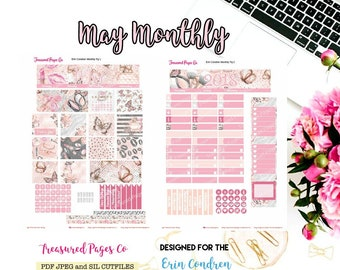 May Monthly Planner Printable designed for the Erin Condren Planner Printable includes free Cut Files