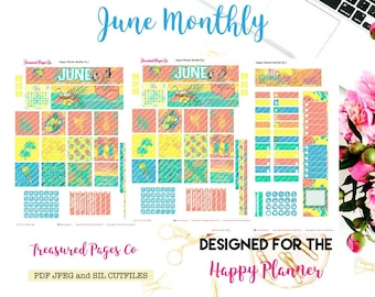 June Monthly Printable designed for the Happy Planner includes free Cut Files