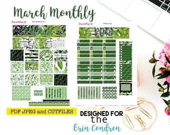 March Monthly Planner Printable designed for the Erin Condren Planner Printable includes free Cut Files